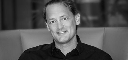 The Floow CEO, Aldo Monteforte, in black and white smiling