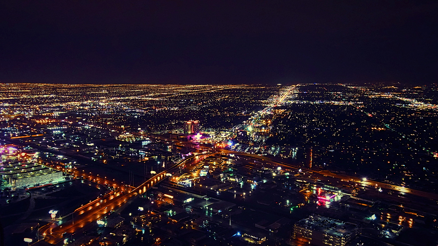 aerial shot of city at night time
