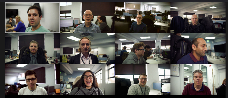 Series of video stills of people talking to the camera