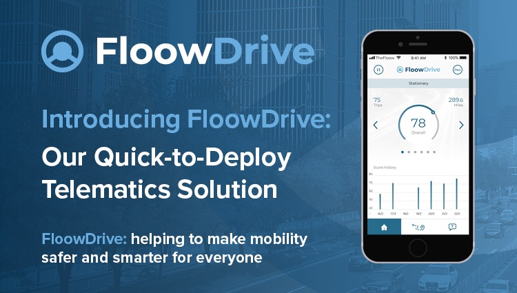 graphic introducing floowdrive including logo, phone screen displaying FloowDrive and short text explaining more about FloowDrive