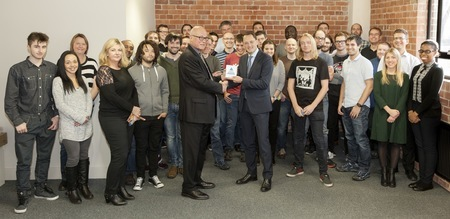 The Floow team accepting their Prince Michael award